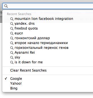 Safari 6 Recent Searches